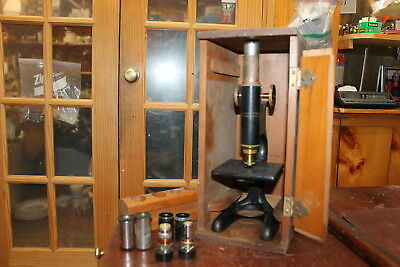 Antique Bausch And Lomb Cast Iron And Brass Microscrope With Lenses Wood Box