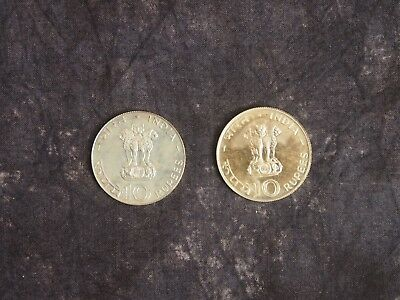 2X India 10 Rupees  TEN  1970 and 1971 Proof-like Silver Lotus Flower Sun