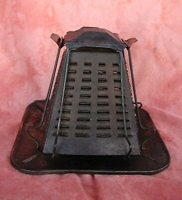 Antique Rustic  Pyramid Metal Camp Stove Bread 4 - Slice Toaster Collectible