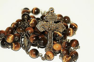 Large 10mm Genuine Non Faceted Tiger Eye Rosary Bronze Pardon Crucifix Oklahoma