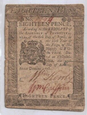 1776 Colonial Currency 18 Pence Philadelphia Pennsylvania Note Very Rare