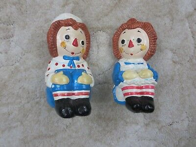 Raggedy Ann & Andy Ceramic Bookends, 1978 Bobbs Merrill Determined Productions