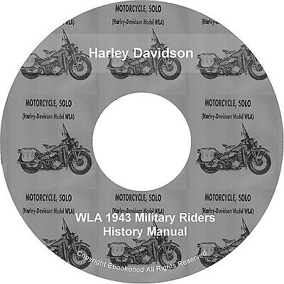 2 Harley Davidson WLA 1943 Military Riders History Manual Books PDF's on CD