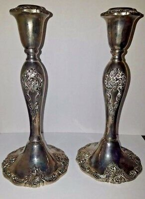 Vintage Pair Of Ornate Silver Plated Candle Stick Holder  Heavy