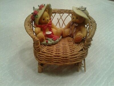 Two Bear China Cherished Teddies Set  With Registeration Numbe And Wicker Chair