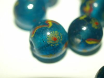 Peking Glass Vintage Chinese Eye Bead Clear turquoise yellow Red Round 13 - 14mm
