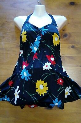 vintage floral skirted swimsuit bathers tiki rockabilly