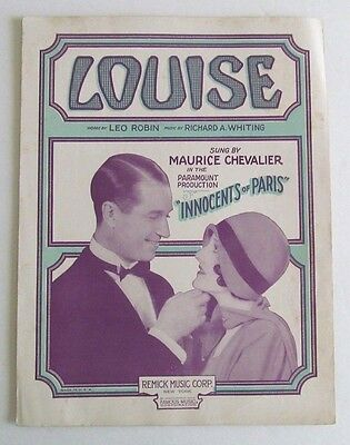 """1929 LOUISE from """" INNOCENTS OF PARIS """" Sheet Music - MAURICE CHEVALIER"""