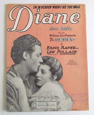 1927 I'M IN HEAVEN WHEN I SEE YOU SMILE DIANE Sheet Music - JANET GAYNOR