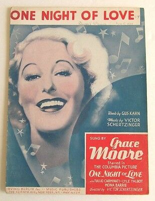 1934 ONE NIGHT OF LOVE & 1936 STARS IN MY EYES Sheet Music - GRACE MOORE