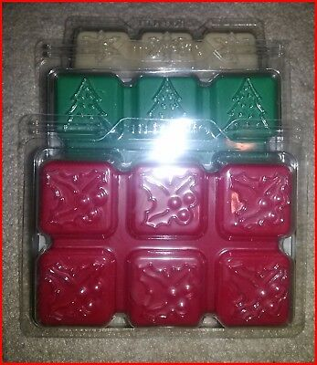 PartyLite NOVELTY SCENT PLUS MELTS RED WHITE & GREEN 3 SCENTS 6 SQUARES EA NEW