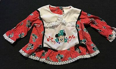 Vintage Minnie Mouse Infant Girl Shirt Baby Disney Long Sleeve