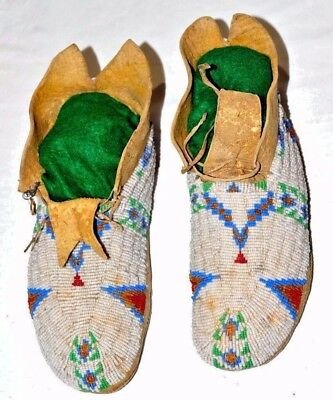 Old Native American Indian Cheyenne Fully Beaded Moccasins, Parfleche Soles