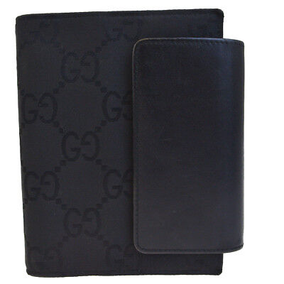 Authentic GUCCI GG Pattern Agenda Cover Day Planner Canvas Leather Black 03BA863