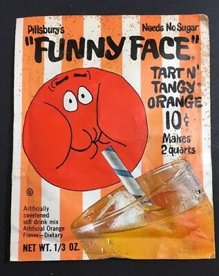 LAST ONE! PILLSBURY 60s FUNNY FACE drink mix TART N TANGY ORANGE Unopened Packet