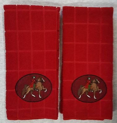 Saddlebred Horse & Rider, Embroidered Hand Towels Red