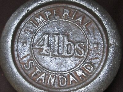 Antique 4 lbs Imperial Standard WEIGHT for Scales Industrial Retail Kitchenalia