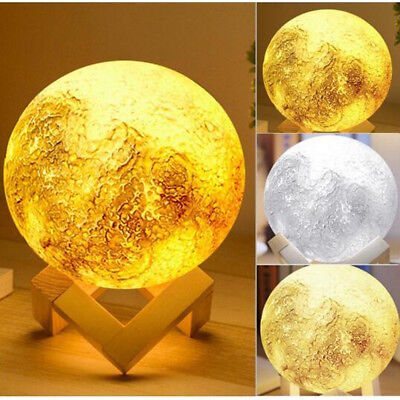 New Ultra Large 20CM Magical 3D Printing Moon Lamp USB Dimmable Luna Night Light