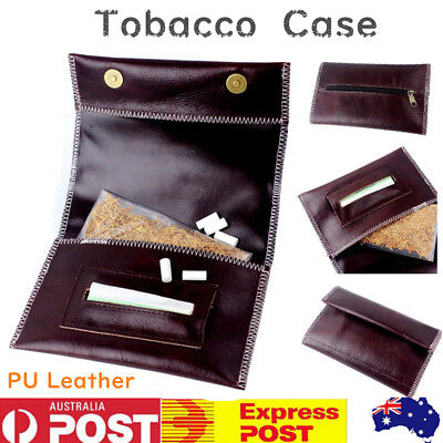 Cigarette Tobacco Pouch Leather Bag Case Holder Wallet Filter Rolling PaperBrown