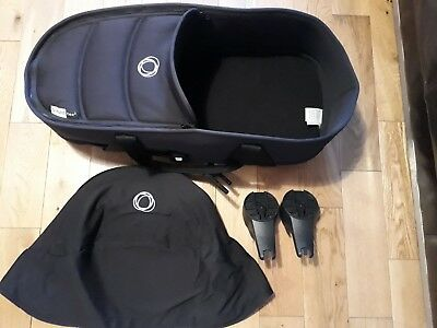Bugaboo bee black carrycot with base, adaptors and canopy