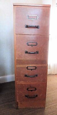 Vintage Retro Haberdashery 4 Long Drawer Wooden Cabinet/chest - Needs Side Panel