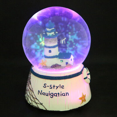 Xmas LED Tower House Musical Water Snow Globe Music Box Craft Christmas Gift Toy