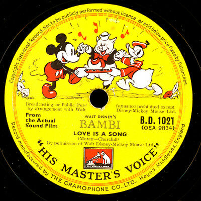 """BAMBI"" SOUNDTRACK (WALT DISNEY FILM) 1&2      Schellackplatte   78rpm     S7801"