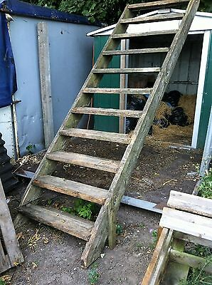 wooden stair case old outside