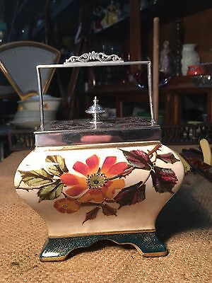 Antique English Victorian Porcelain Biscuit Barrel with Silver Plated Details