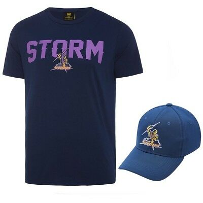 Melbourne Storm 2018 NRL Mens T-Shirt & Hat Combo Logo Tee Cap BNWT Rugby League
