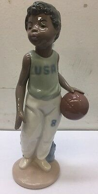 "Nao Time To Play Basketball 8"" By Lladro #1226 Mint Figurine Boy 1995 USA"
