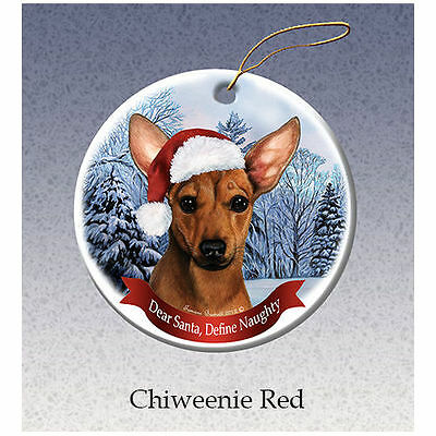 Chiweenie Red Howliday Porcelain China Dog Christmas Ornament