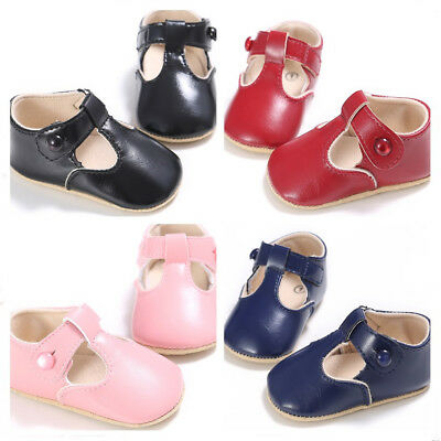 Newborn Baby Boy Girl T-Bar Pram Shoes Faux Leather Pre Walker First Shoes 0-18M