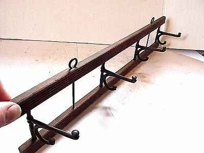 Coat Rack Antique Folding Wood Wrought Iron Wall Mount Country Kitchen Decor