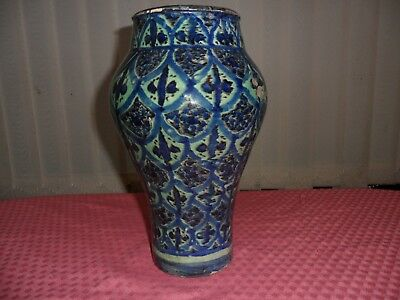 ANTIQUE 19th.C MIDDLE EAST POTTERY BALUSTER VASE POLYCHROME LUSTRE TRELLIS PATT.