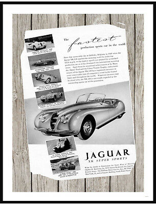 Vintage 1953 Jaguar XK120  Advertisement on Weathered Wood