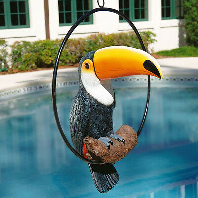 Toucan Statue Tuscan Tropical Life-Size Hand Painted Realistic Perch Ring Chain