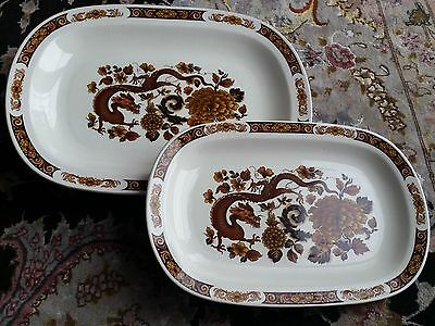 2 Myott Meakin Franciscan Dynasty Collection Dragon of Kowloon Platters/Chargers