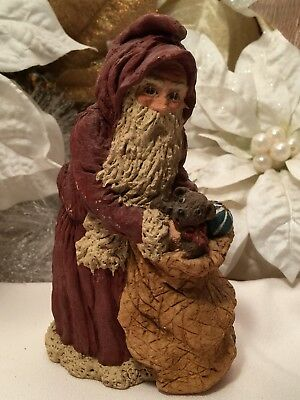 June McKenna Vintage Santa Christmas Ornament With His Bag Of Toys 1987
