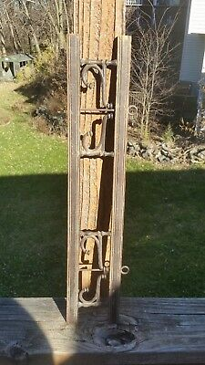 Antique Hat Coat Rack Vintage Primitive 4 Old Cast Iron Swivel Hooks Long Wood