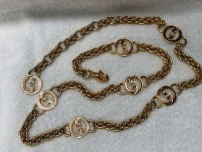 Authentic Gucci Vintage Gold Plated Enamel Charm Gg Logo Chain Link Belt