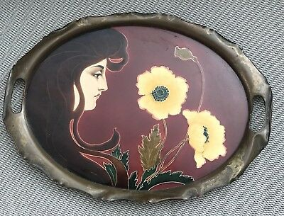 Art Nouveau Carl Sigmund Luber German Jugendstil Ceramic Tray Wmf  Genuine