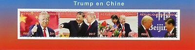 Congo 2017 MNH Donald Trump in China Xi Jinping 4v M/S US Presidents Stamps