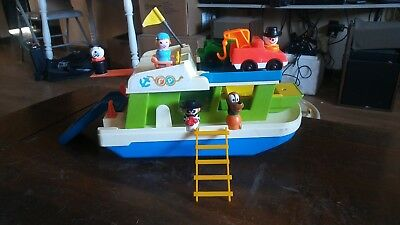 Big LOT Vintage Fisher Price happy house boat W/EXTRA boat, tow truck, people