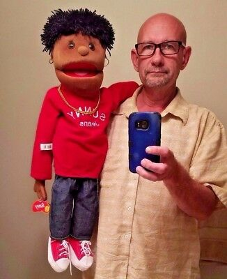 """Folkmanis Sunny Puppets 30"""" Black or Ethnic Boy Red Top & Jeans Puppet RARE NWT"""