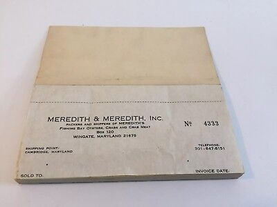 Meredith & Meredith, Inc. Invoice Receipt Book Wingate Cambridge, MD Not Oyster