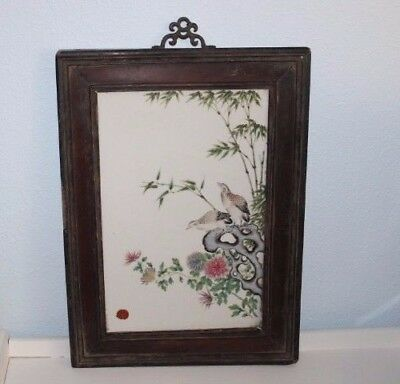 Antique Chinese Painted Porcelain Wall Tile Plaque