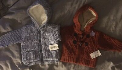 2 Baby Boy Woolley Hooded Cardigans BNWT 0-3 Months