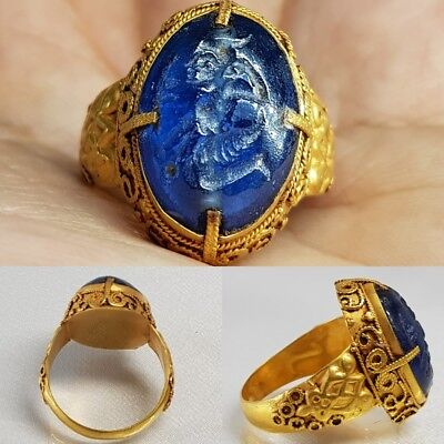 Roman sapphire Ancient seal stone 23k Solid gold Wonderful Ring   # w2