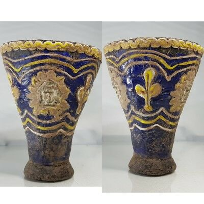 Ancient Mosaic Glass Beautiful Cup With 3 faces Around   # w2